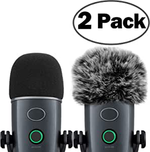 Windscreen for Blue Yeti Nano Foam Cover Furry Windscreen for Yeti Nano ChromLives Mic Wind Muff Cover Foam Compatible with Blue Yeti nano Microphone (Furry & Foam Combo 2Pack)