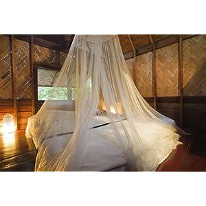 Moustiquaires 4 U blanc moustiquaire ciel de lit pour vacances et d'accueil . Pleine couverture 12 mètres . Jusqu'à Kingsize . Irritation de la peau non . Sac de Voyage Gratuit
