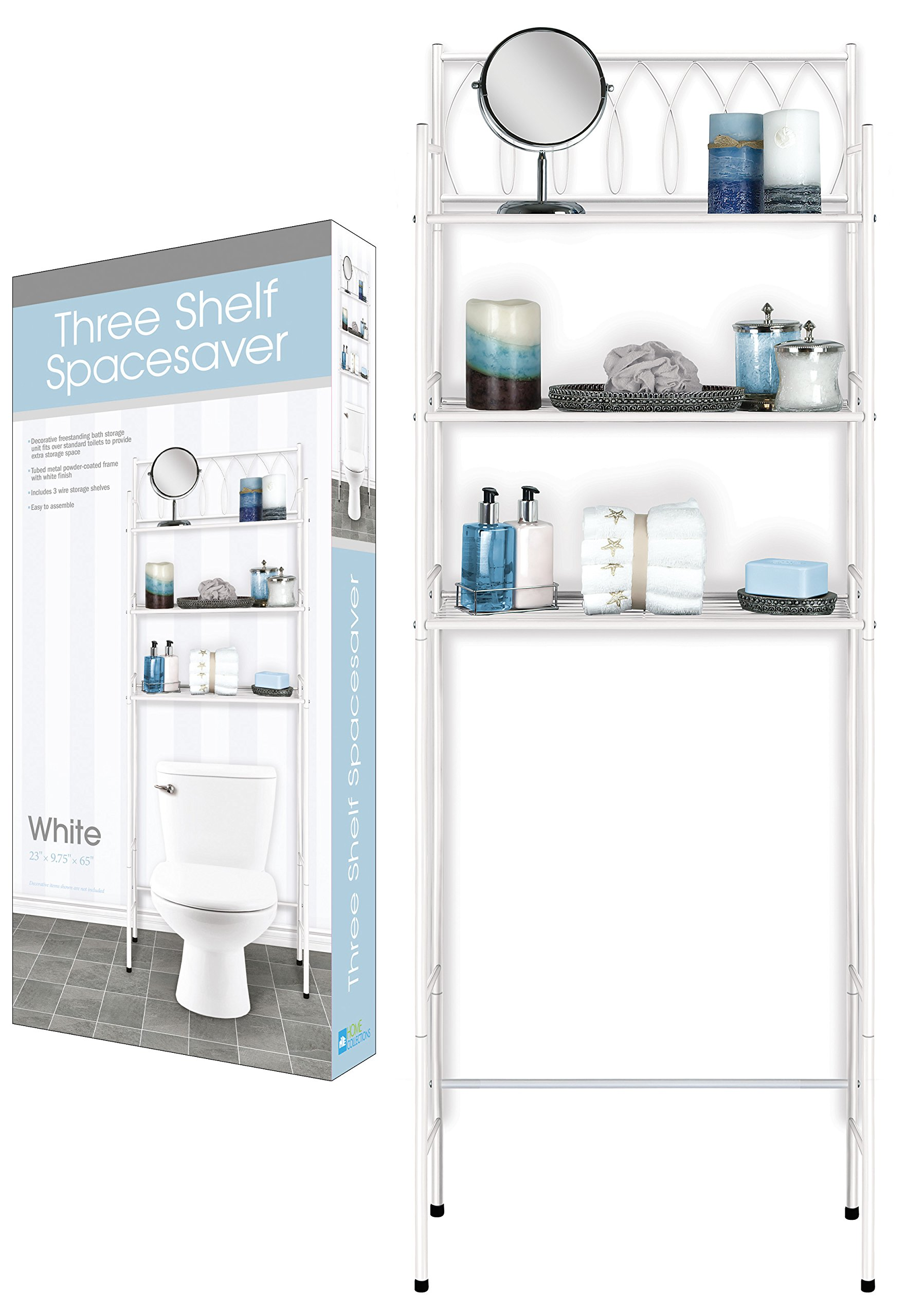 DINY Home Collections 3 Shelf Over The Toilet Spacesaver Easy to Assemble (White) 65'' Tall