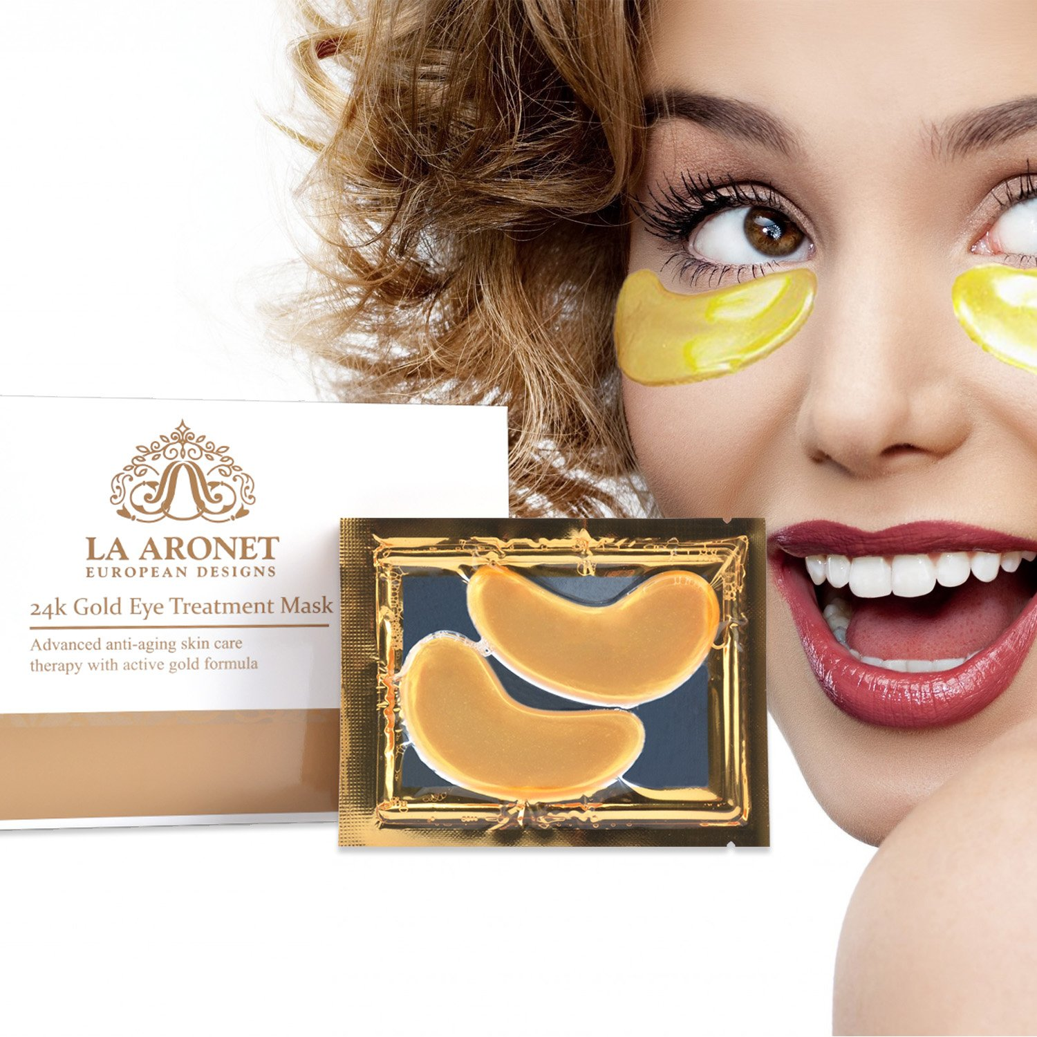 LA ARONET 24K Gold Eye Treatment Masks - (Pack of 20 Pairs) with Anti-Aging Wrinkle Reduction Collagen and Nutrients to Reduce Dark Circles, Bags, and Eye Puffiness, 5 EXTRA BONUS PAIRS included by LA ARONET (Image #3)