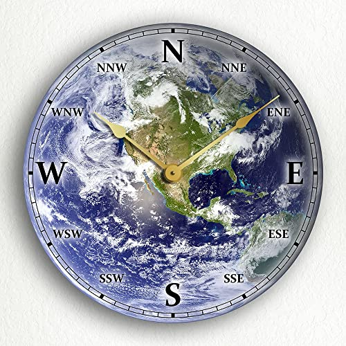 Earth Satellite Space Image 12 Wall Clock