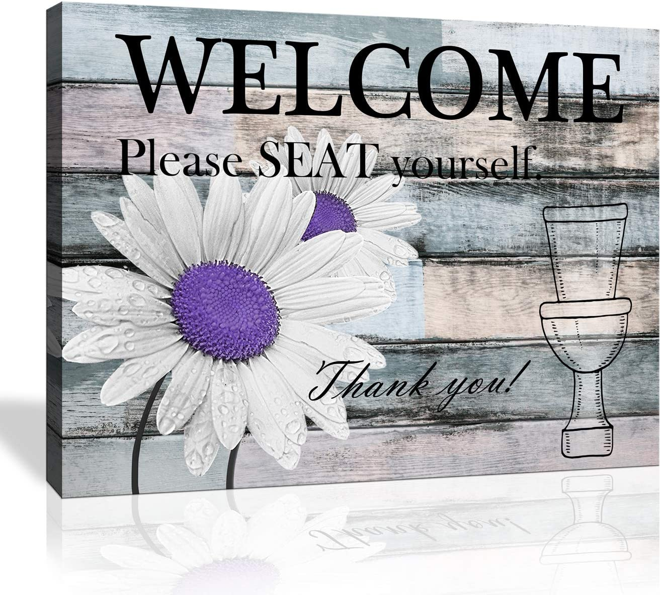 Bathroom Wall Decor Vintage wood Plaque Wall Hanging Welcome Sign Please Seat yourself Canvas Print Modern Artwork Purple Daisy Flower Decoration Ready to Hang Size 16x20