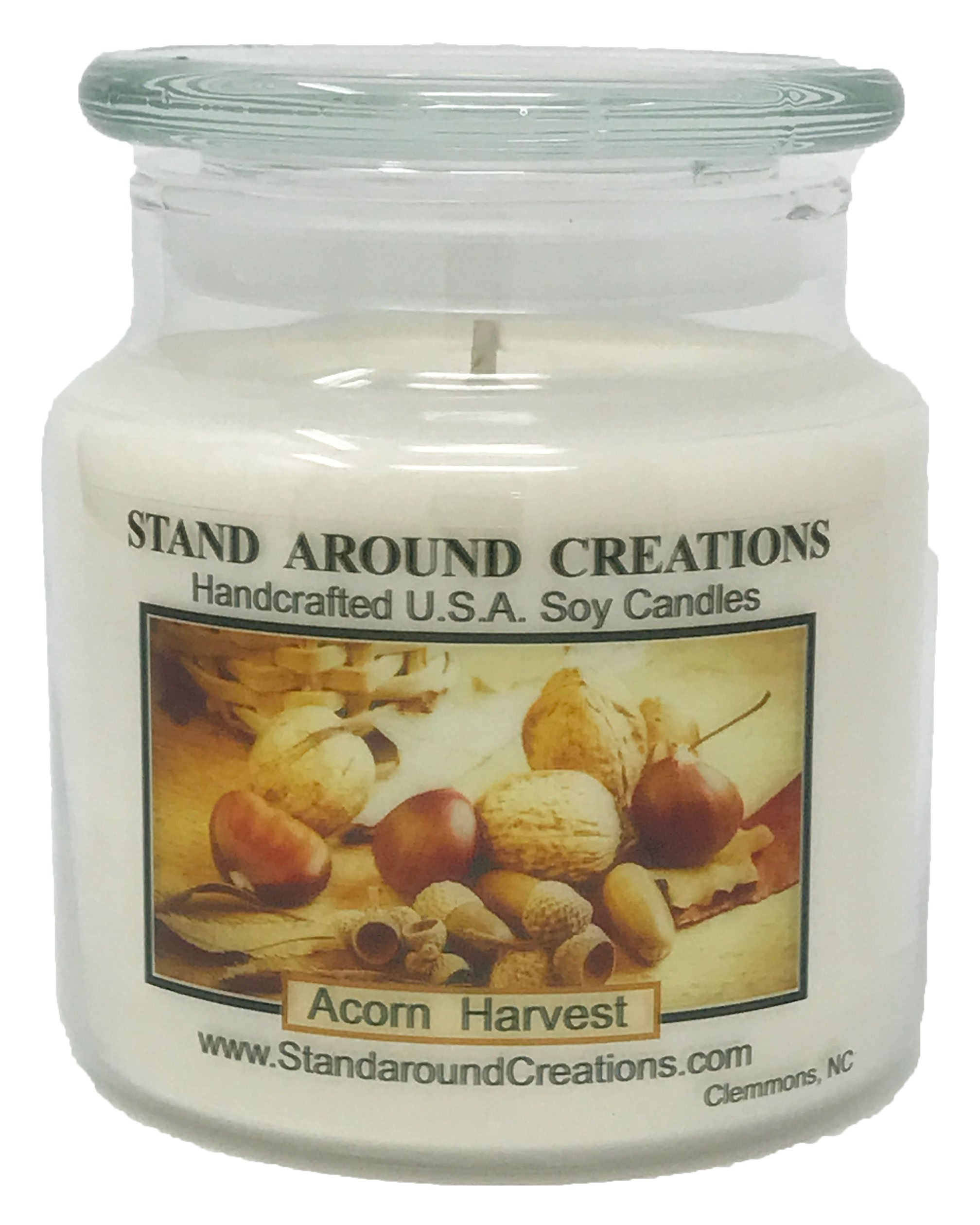Premium 100% All Natural Soy Wax Aromatherapy Candle - 16 oz Apothecary - Acorn Harvest: This fragrance is a warm earthy, nutty aroma with rich buttery vanilla. Made essential oils.