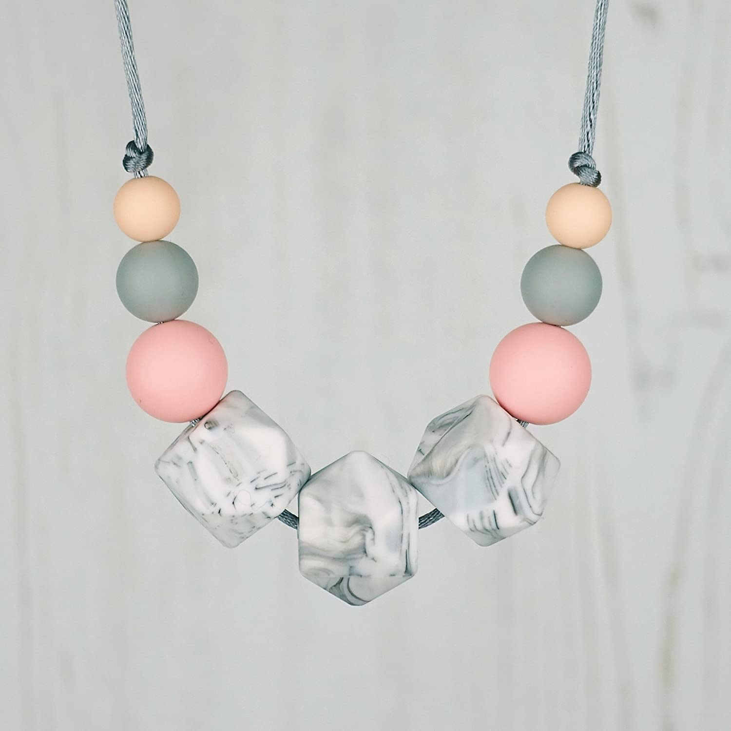 Silicone Teething Necklace for Mum, Nursing Jewellery - ROSE MARBLE: FLORA