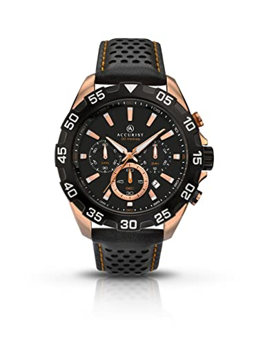 739b65b06 Accurist Men's Quartz Watch with Black Dial Chronograph Display and Black  Leather Strap 7049.01