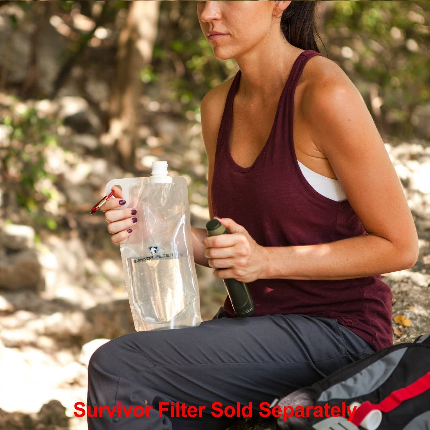 Survivor Filter Collapsible Canteens (33oz) 2 Pack (2L Total) - Durable Carabiners and Handles. Squeeze Water Through a Filter or Use as Water Bottles. Light and BPA Free. : Sports & Outdoors