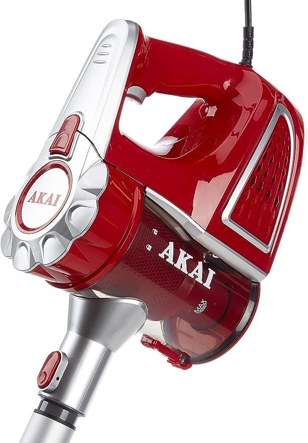 AKAI AP660K Scopa elettrica senza sacco, Ciclonica, 600 Watt, 5 m di cavo, rosso