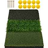 Keenstone Tri-Turf Golf Hitting Mat, Portable Golf Grass Mat for Driving, Chipping Practice Training with Adjustable Tees and