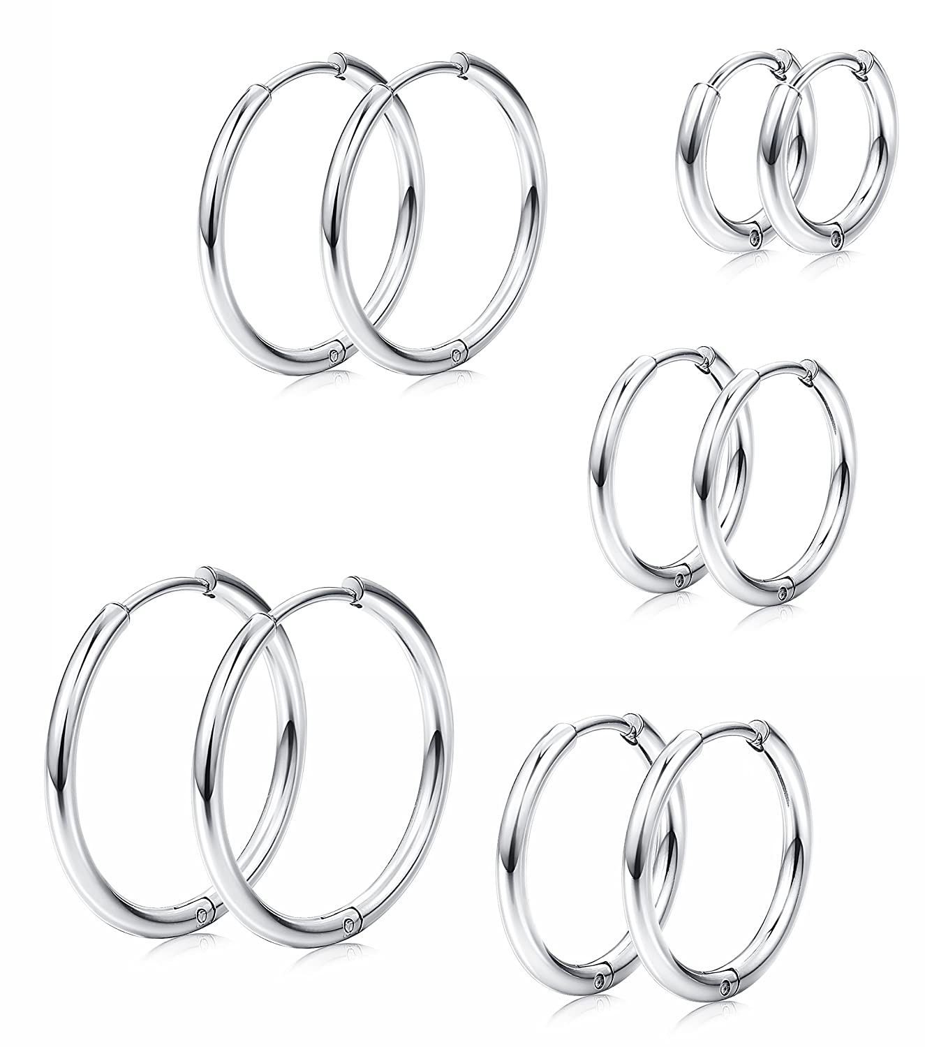 Milacolato 5 Pairs Stainless Steel Basic Small Large Endless Hoop Earrings for Mens Womens Nose Tongue Body Ring Cartilage Piercing 8-16mm B07FMF4ZCK_US