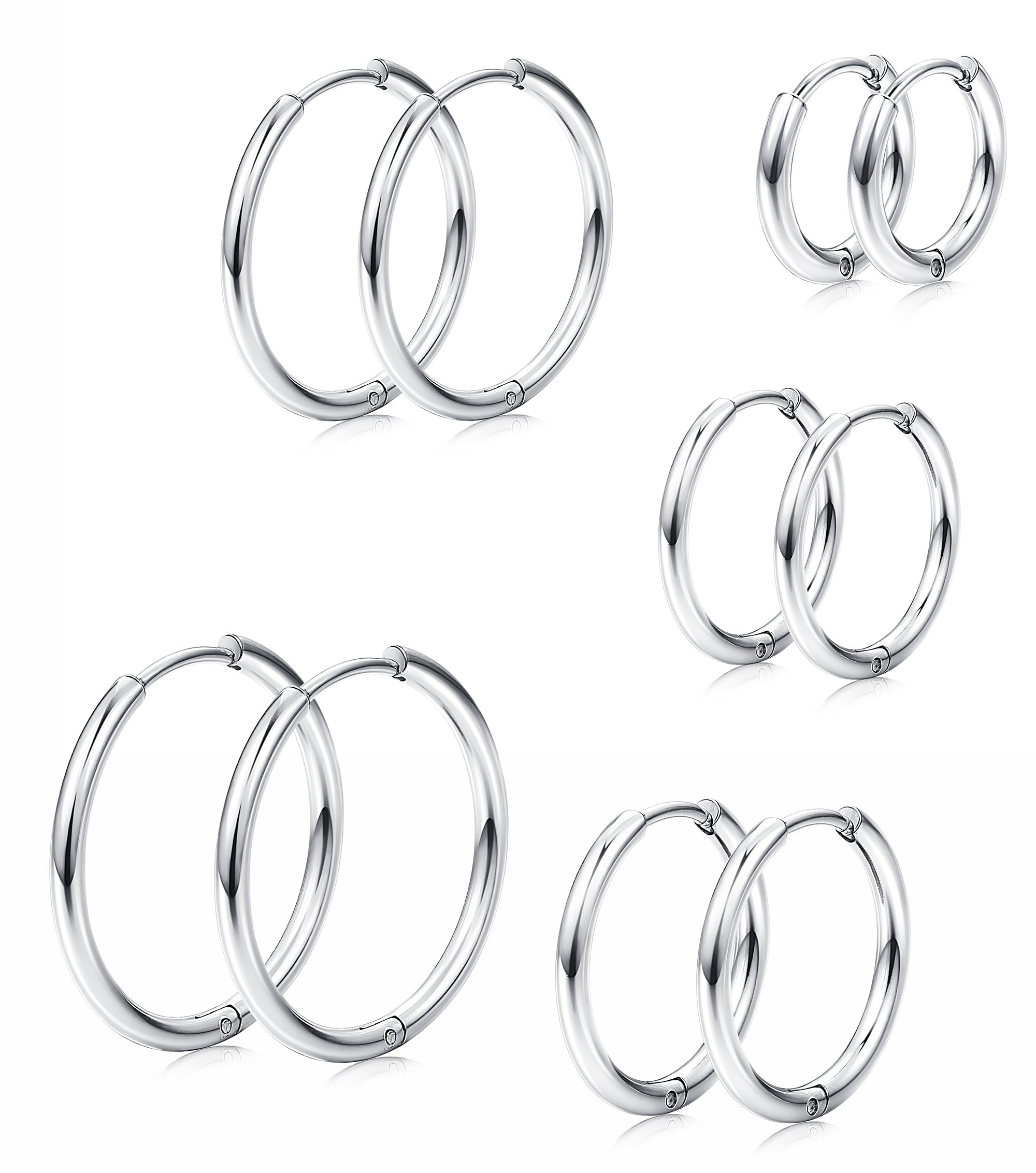 Milacolato 5 Pairs Stainless Steel Basic Small Large Endless Hoop Earrings for Mens Womens Cartilage Huggie Nose Tongue Body Ring Piercing 8-16mm Silver