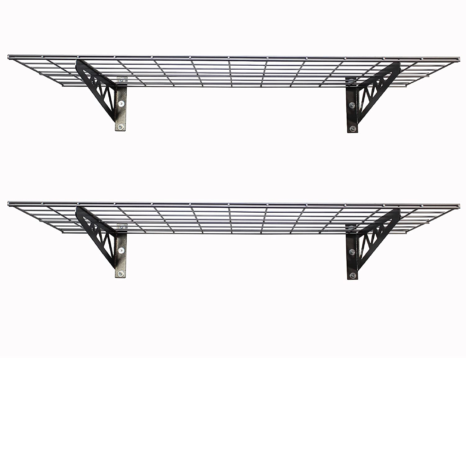 SafeRacks Wall Shelves - Hammertone 2 Pack with Accessories (18