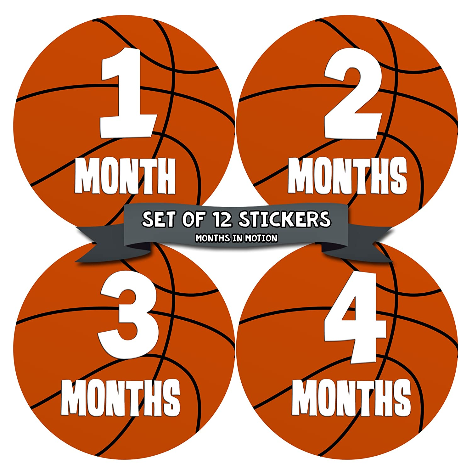 Baby Monthly Stickers – Monthly Milestone Stickers – Baby Month Stickers for Boy – Basketball Sports – Style 225