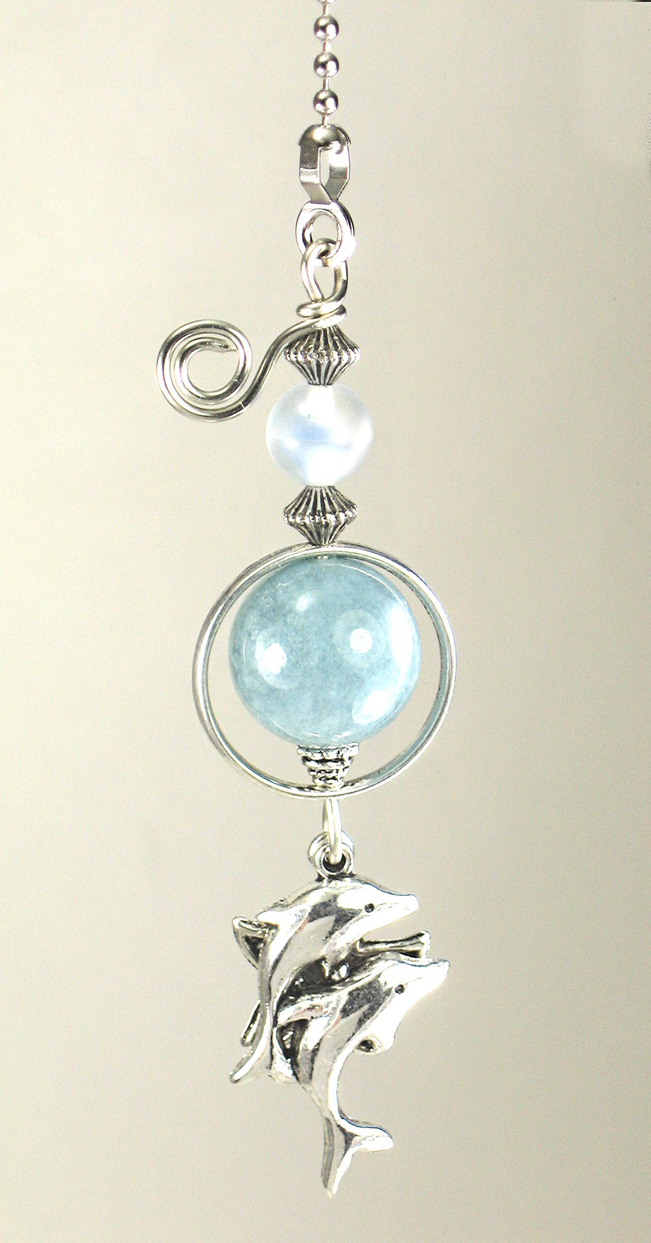 Silvery Dolphins and Starfish Soft Blue Glass Ceiling Fan Pull