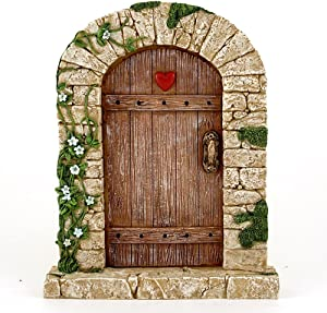 "Top Collection 7"" Miniature Fairy Garden & Terrarium Charming Cobblestone Door Decor, Small"