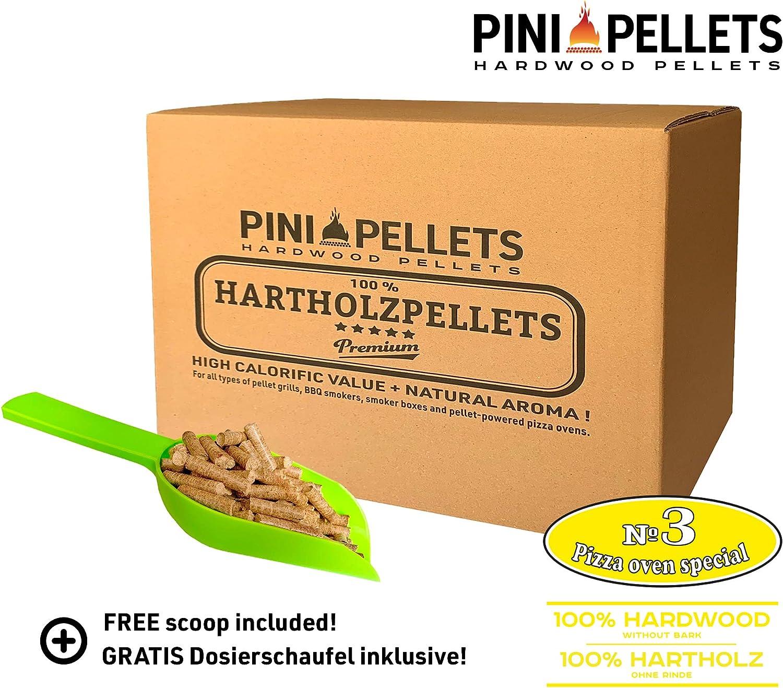 PINI Hartholz Pellets №3 Pizza Ofen Spezial f/ür pelletbetriebene Pizza/öfen Grill Smoker R/äucherboxen Smokertubes 10 Kg