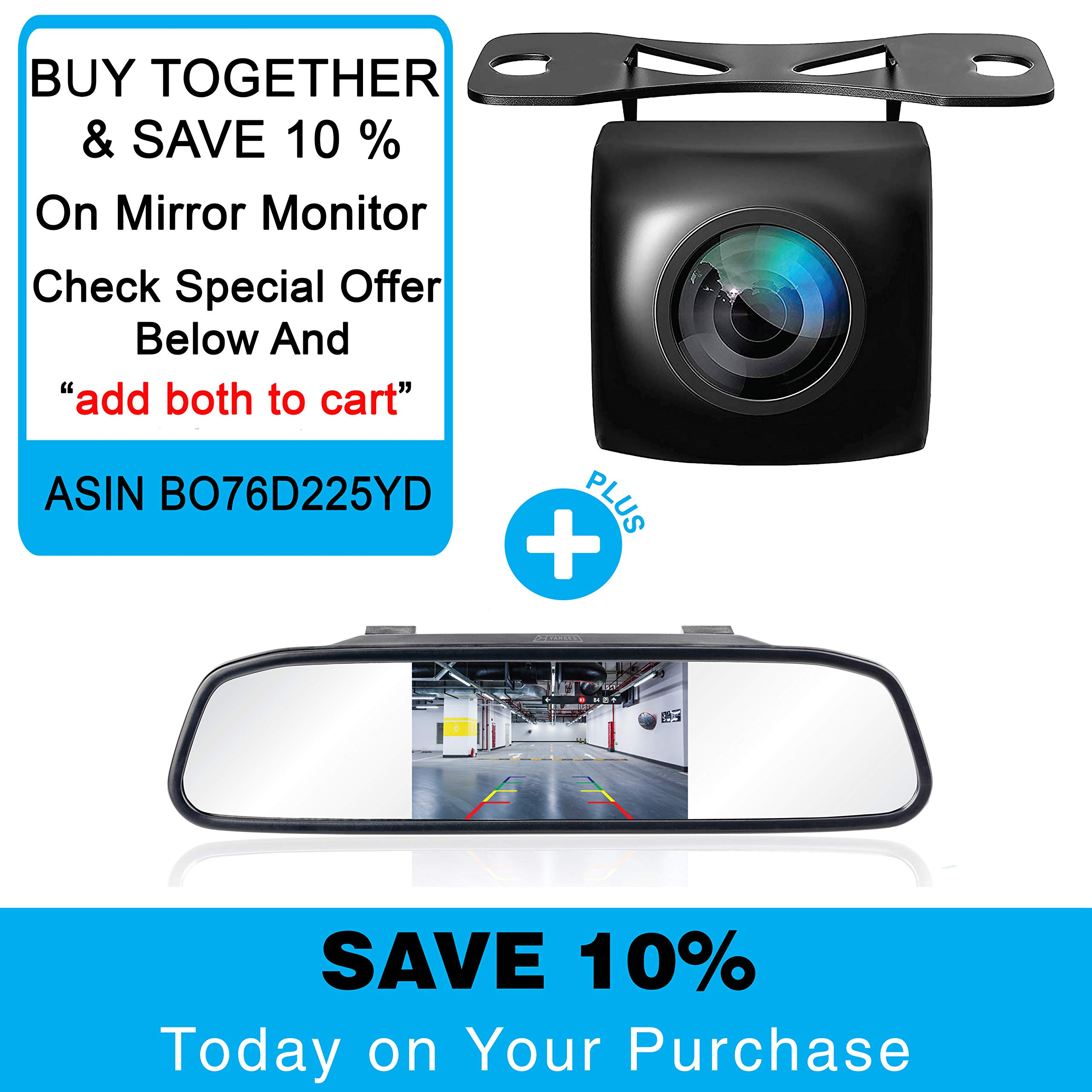 Backup Camera Night Vision - HD 1080p - Car Rear View Parking Camera - Best 170° Wide View Angel - Waterproof Reverse Auto Back Up Car Backing Camera - High Definition - Fits All Vehicles by Yanees by YANEES (Image #6)