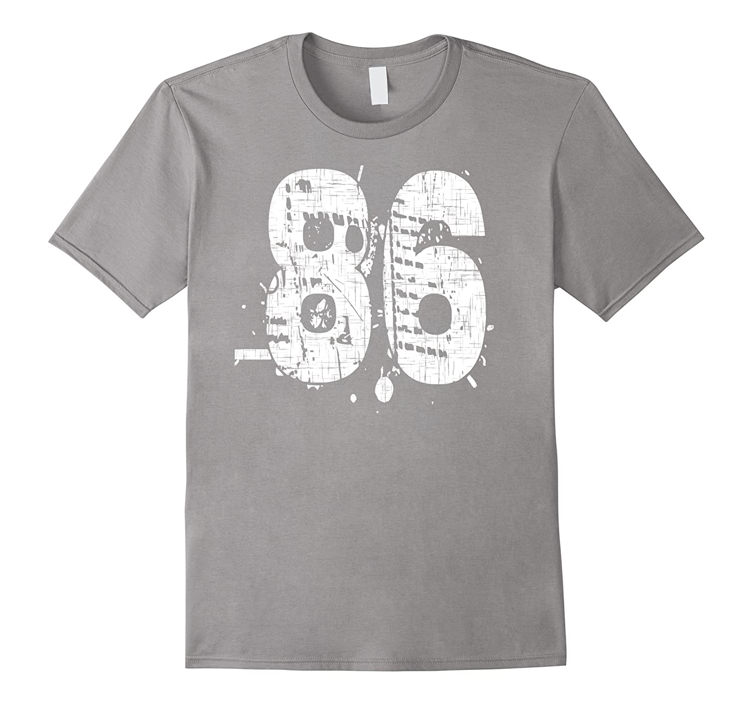 86 Numbered T-Shirt printed front and back in super grunge-PL