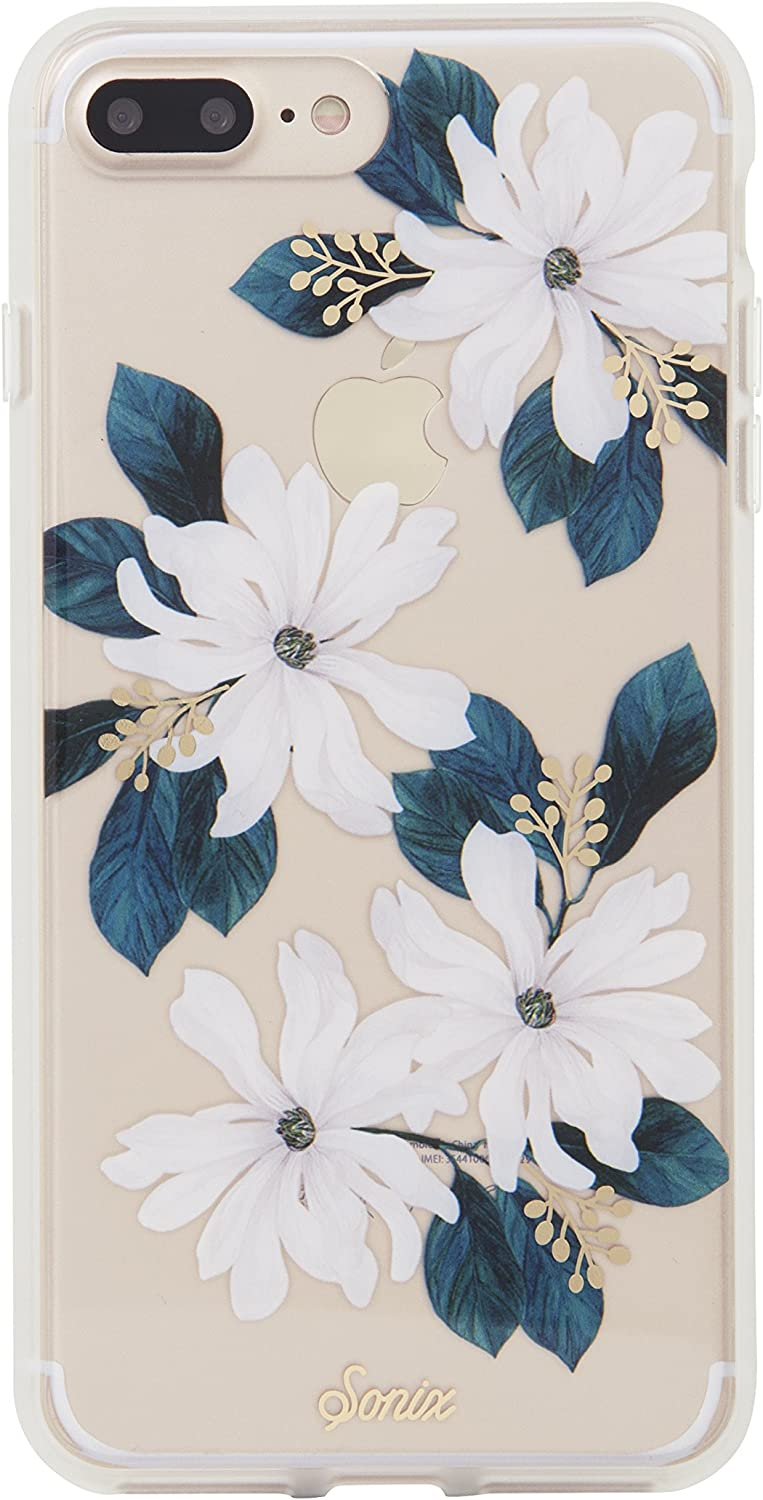 Sonix Delilah Flower Case [Military Drop Test Certified] Women's Protective White Floral Clear Case for Apple iPhone 6 Plus, iPhone 6s Plus, iPhone 7 Plus, iPhone 8 Plus