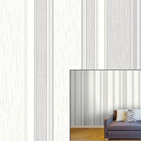 Crown Quattro Stripe Dove Grey Luxury Textured Wallpaper Amazon Co