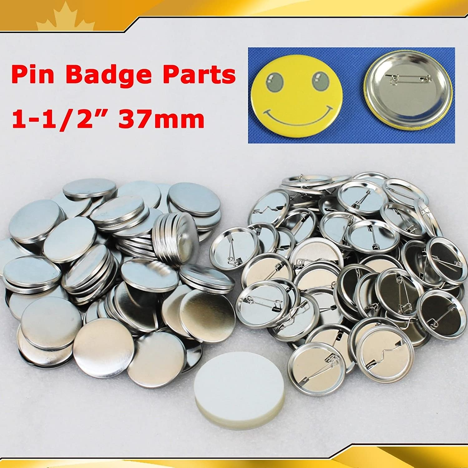 Asc365 1-1/2' 37mm 100sets Pin Badge Button Parts Supplies for Pro Maker Machine(item#015502) CN
