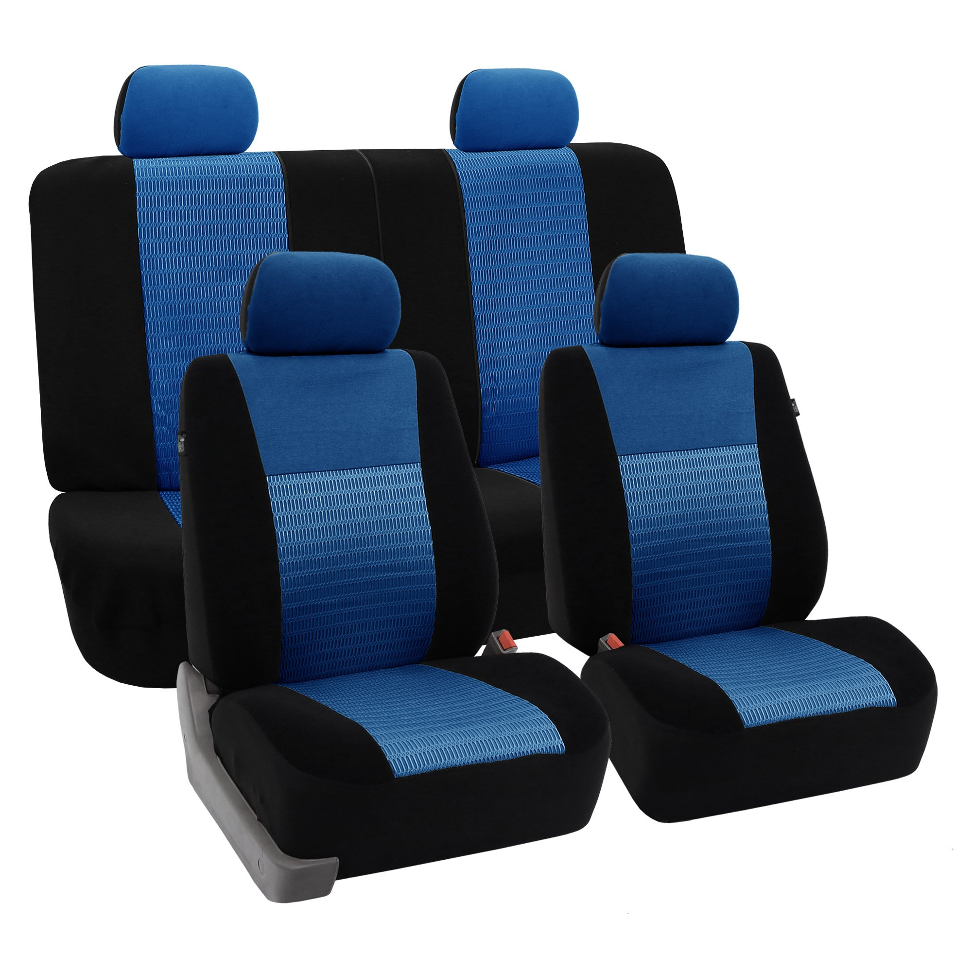 FH Group FB060115 Trendy Elegance Full Set Car Seat Covers, Airbag Compatible & Split Bench, Blue/Black Color - Fit Most Car, Truck, SUV, or Van by FH Group