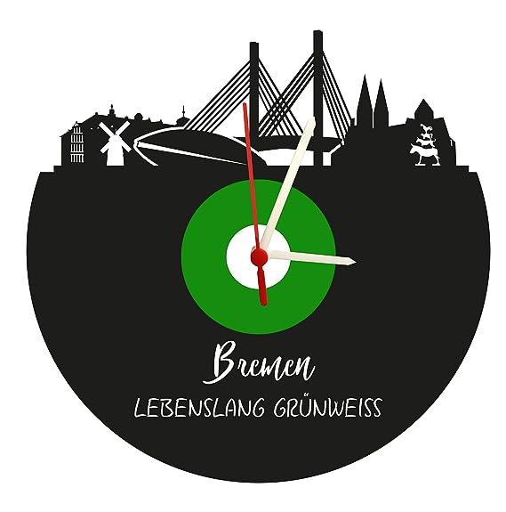 Reloj De Pared Bremen Skyline, Verde y Blanco, Placa acústica Reloj con Mecanismo de Cuarzo,, Fabricado en Alemania,: Amazon.es: Relojes