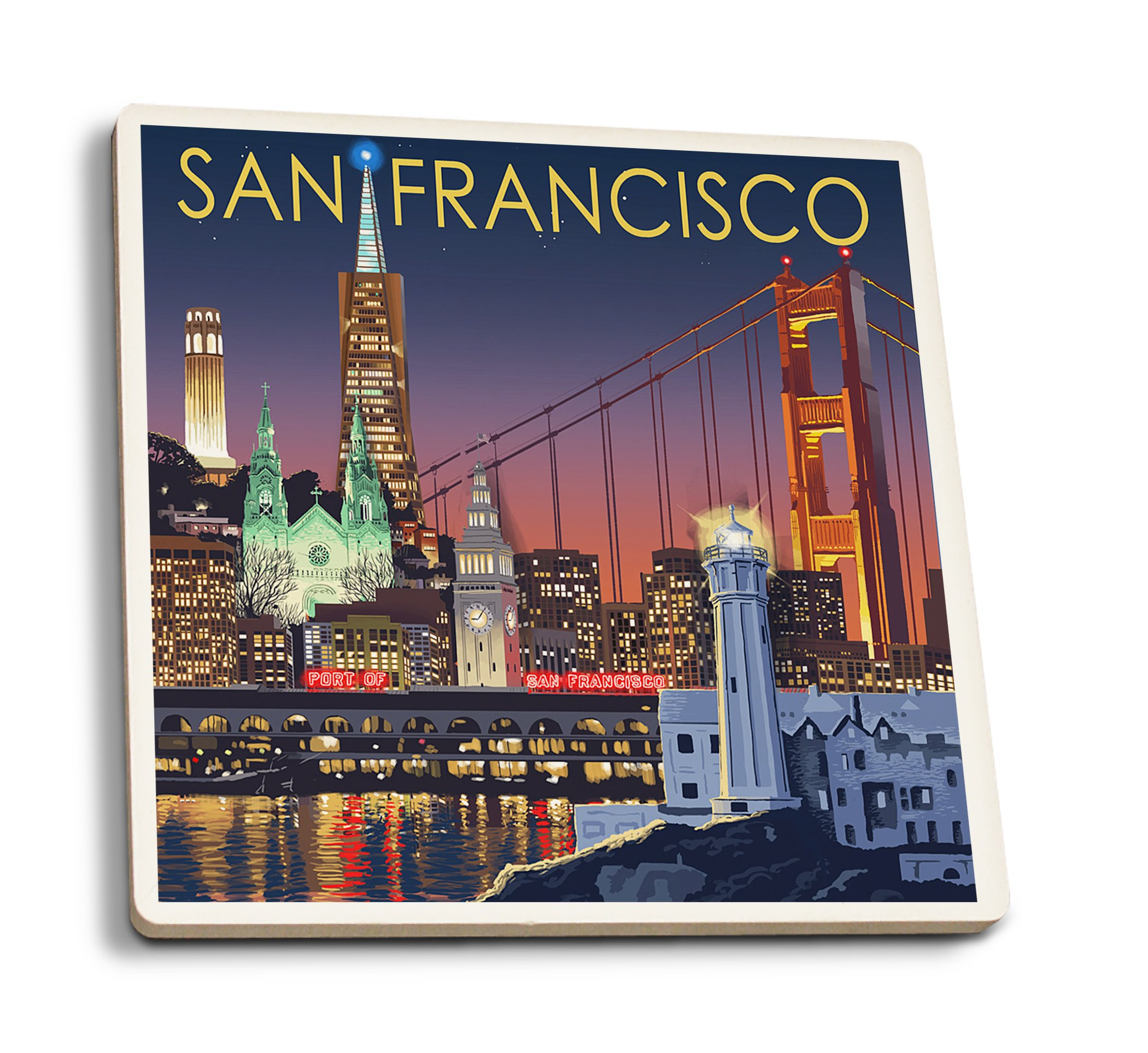 Lantern Press San Francisco, California - Skyline at Night (Set of 4 Ceramic Coasters - Cork-Backed, Absorbent)