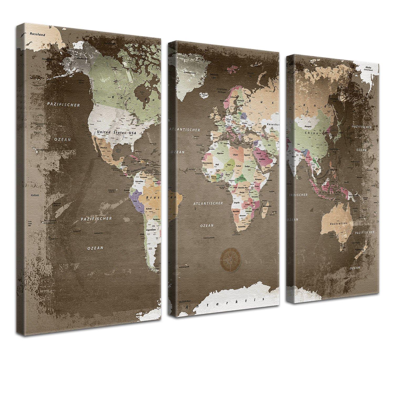 CanvasArts Weltkarte Vintage deutsch 14.1451 Leinwand PINNWAND auf Keilrahmen 100 x 60 cm