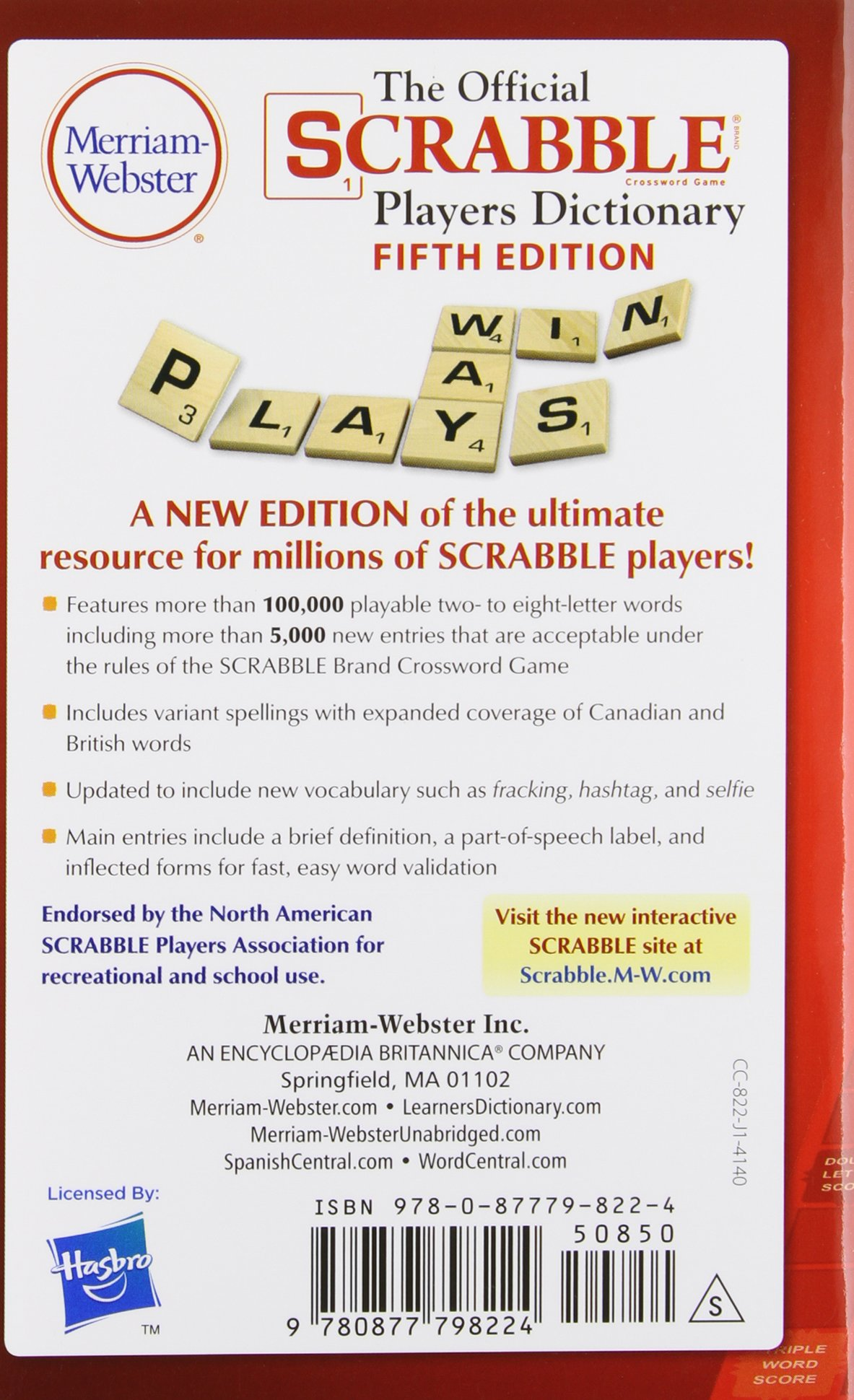 The Official Scrabble Players Dictionary 5th Edition Mass Market