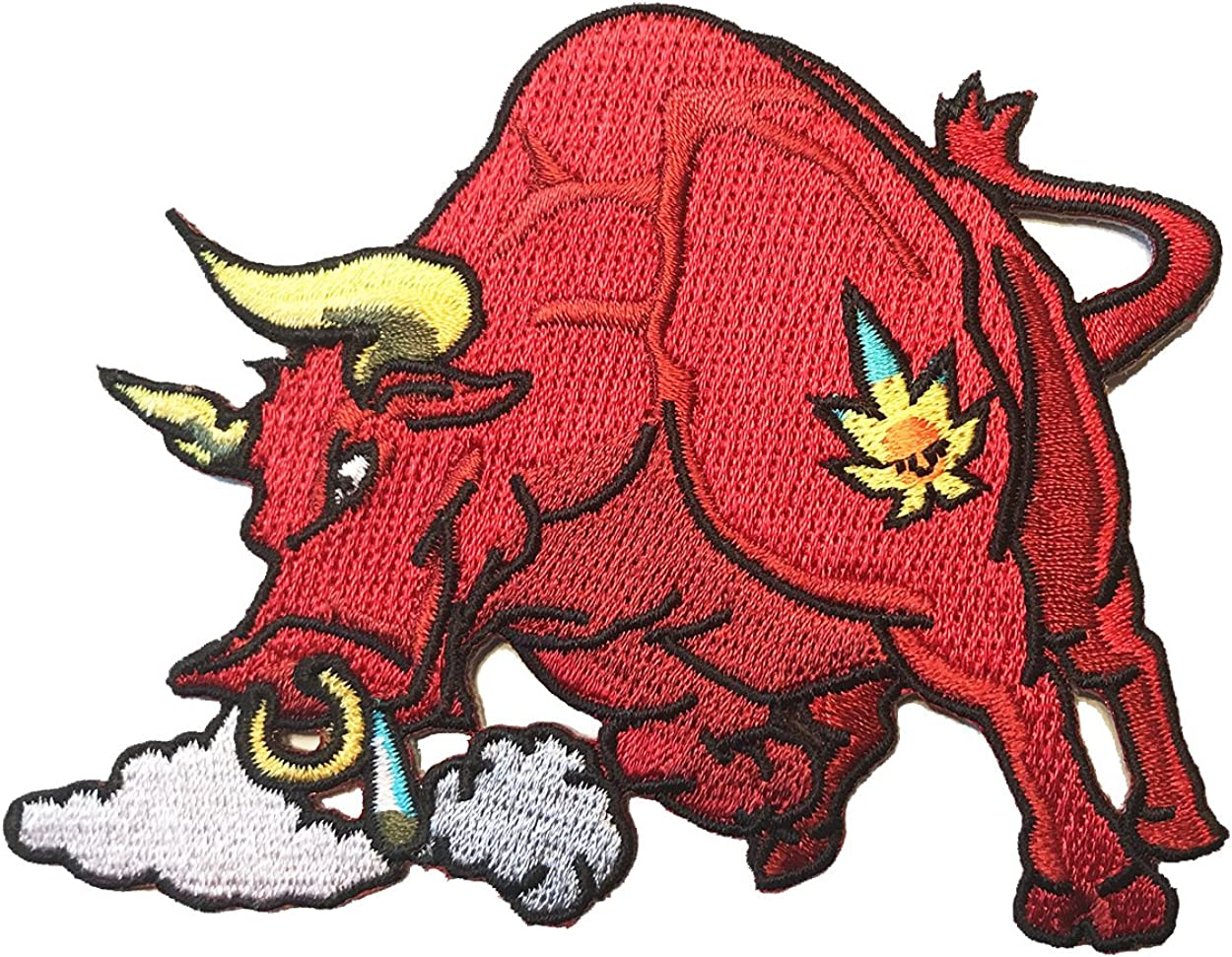 Pot Smoking Pals Raging Bull w/Horns & Bull Nose Ring - Iron On Patch Applique