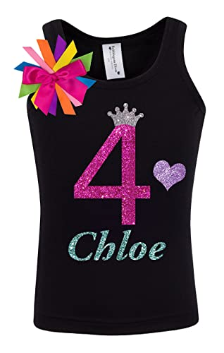 4th Birthday Shirt Four Youth T Girls Rainbow Princess Tank Top Custom Personalized Name