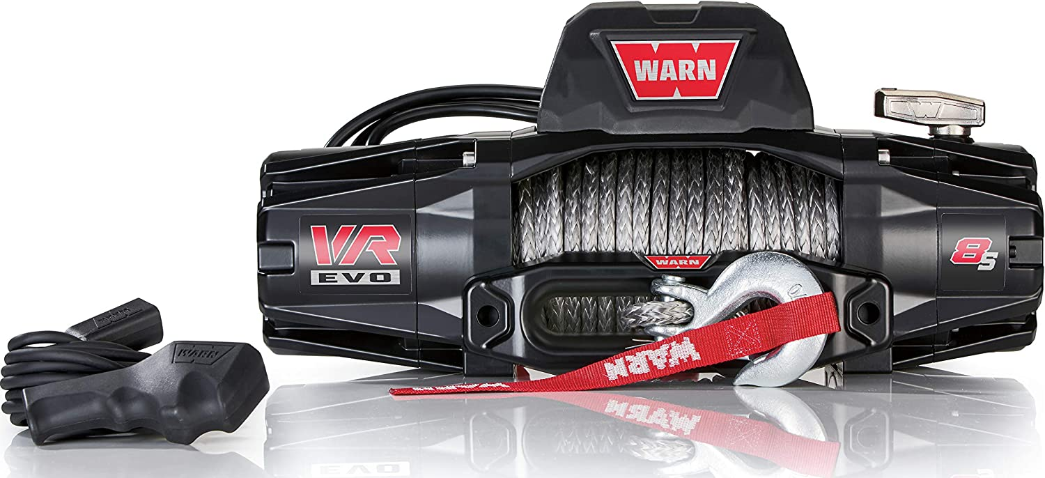 WARN 103251 VR EVO 8-S Electric 12V DC Winch with Synthetic Rope: 3/8