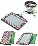 Multi-Colors 3 in 1 Full Rhinestone Horizontal ID holder with Lanyard and retractable Reel (Rainbow)