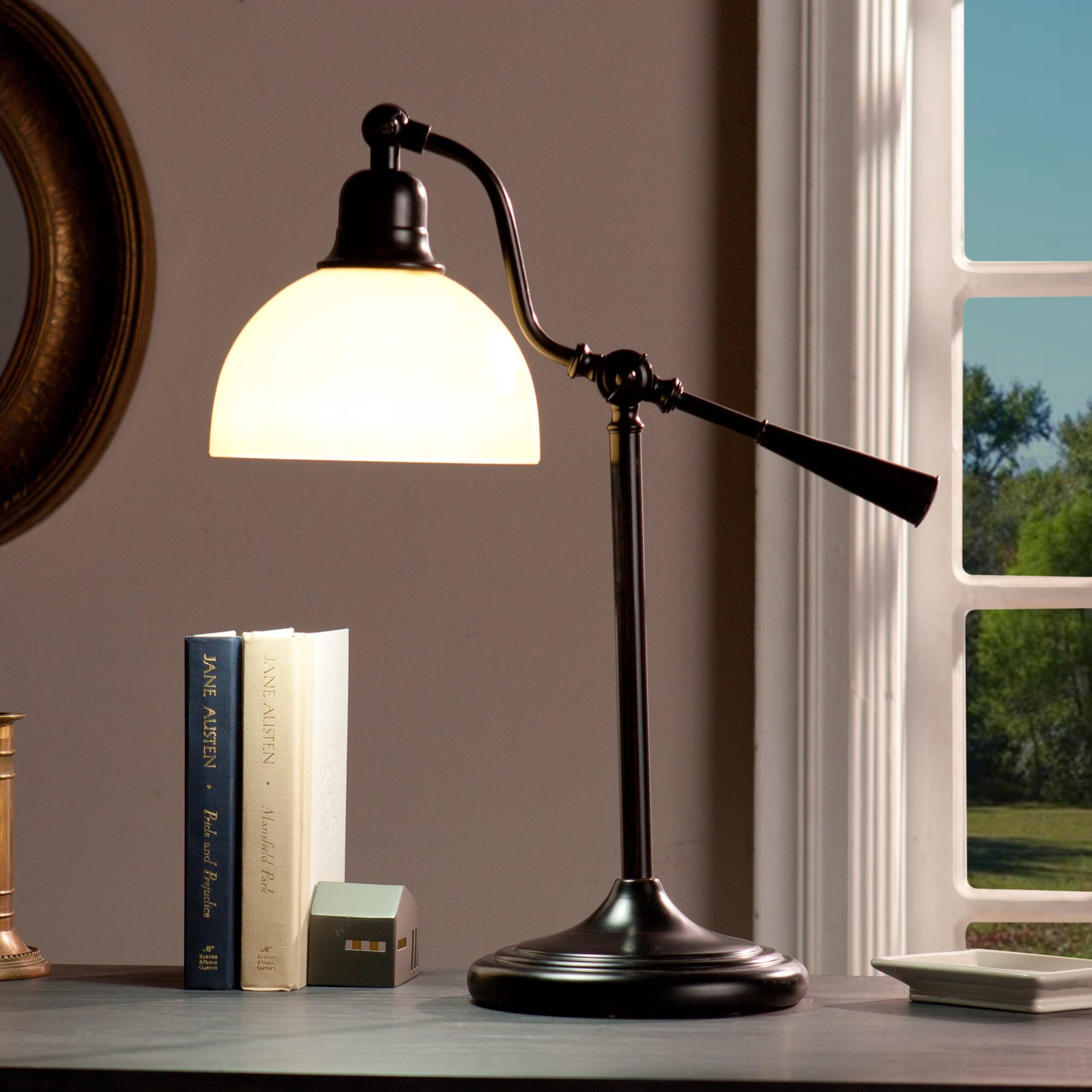 kaley Rubbed Bronze Finish with Antique GlassSteel/Glass Concord Task Table Lamp