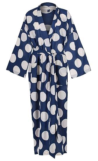 Ladies Lightweight Cotton Dressing Gown - Kimono Robe - 100% Hand ...