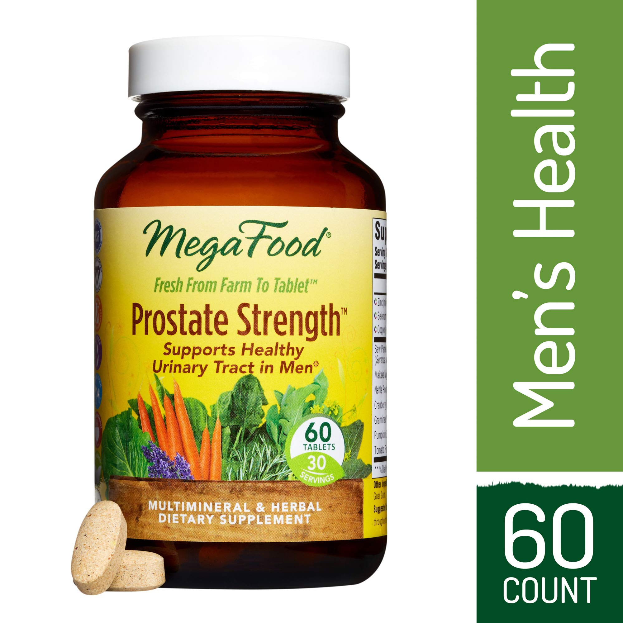MegaFood - Prostate Strength, Multimineral and Herbal Support for Prostate and Urinary Health with Saw Palmetto, Pumpkin Seed Extract, and Zinc, Vegan, Gluten-Free, Non-GMO, 60 Tablets (FFP)