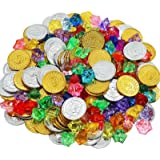 HEHALI 320pcs Pirate Toys Gold Coins and Pirate Gems Jewelery Playset, Treasure for Pirate Party (160 Coins+160 Gems…