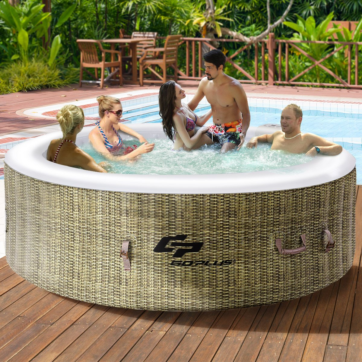 Goplus 6 Person Inflatable Hot Tub for Portable Outdoor Jets Bubble Massage Spa Relaxing w/Accessories (Coffee) by Goplus (Image #2)