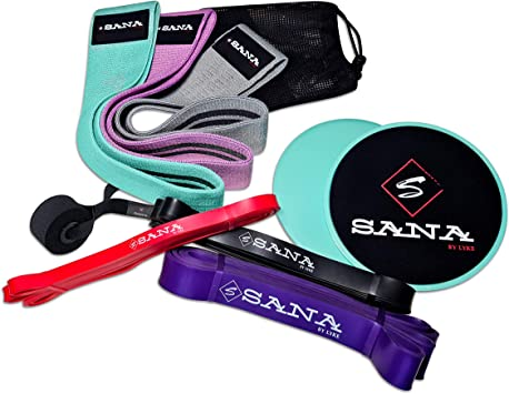 Sana carry-on, sets (hip&pull-up) Resistance bands. Ideal for full-body strength training, fitness, legs, booty, arms, crossfit. 6 different bands, 2 ...