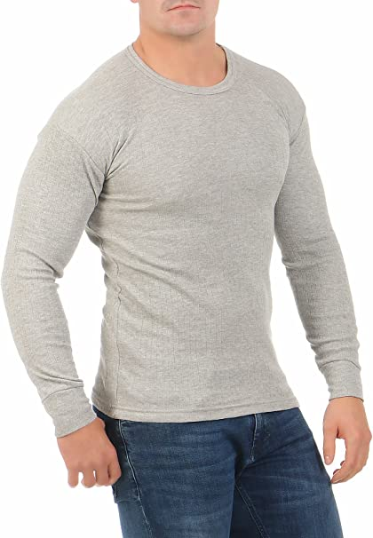 stylenmore Mens Thermal Undershirt Long Sleeve Inner Fleece Winter Cold Protection Long Sleeve Winter Sports Hiking Work Wear Brushed Warm M-4XL Anthracite Dark Blue Grey