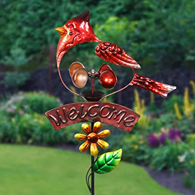 Exhart Red Cardinal Welcome Sign Garden Stake Wind Spinner - Metal Red Cardinal Kinetic Spinners in Red Metallic Coat - Kinetic Art Vertical Wind Spinners in Bird Metal Design, 11 x 36 Inches : Garden & Outdoor