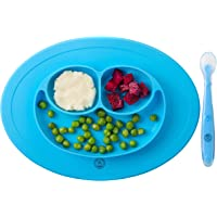NirAriN Baby Blue Smiley Plate & Spoon Set Suction Silicone Divided 3 Food Sections - BPA Free - Dishwasher Safe - Easy…