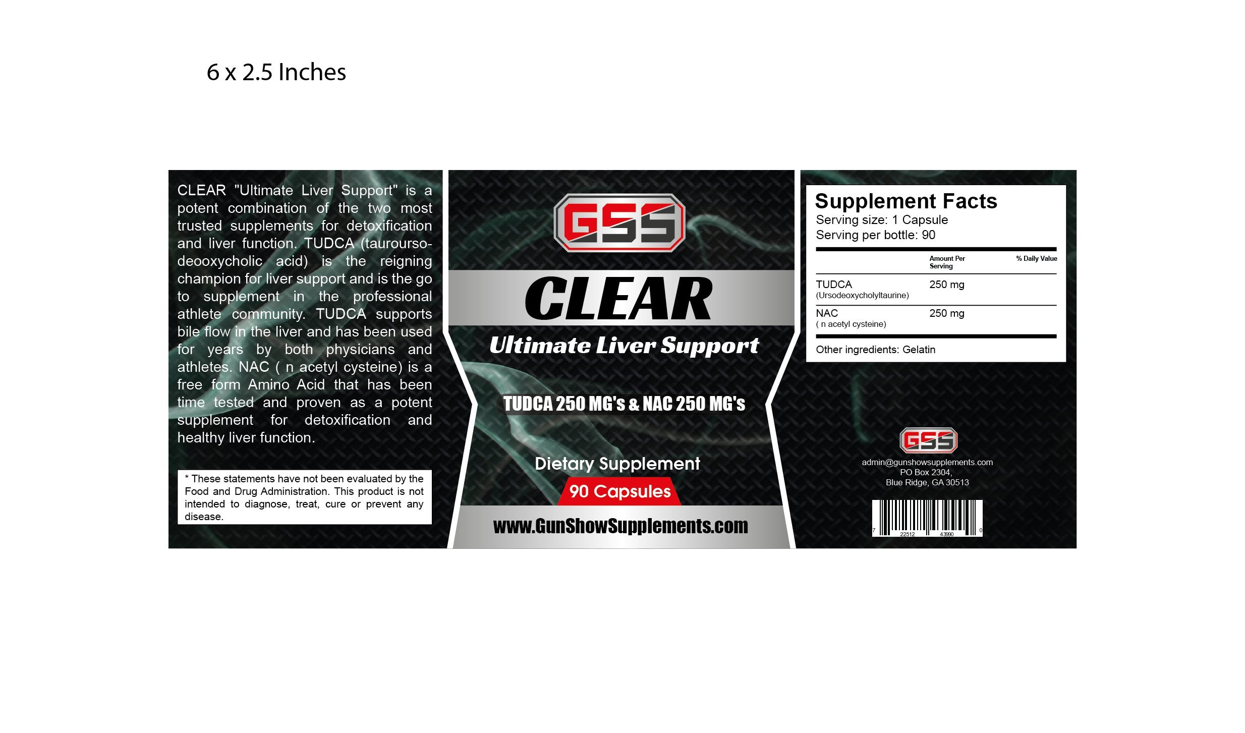 Clear Liver Support: TUDCA (Tauroursodeoxycholic Acid & NAC (N-acetyl Cysteine) (90 Caps)