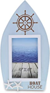 CoTa Global Blue Lagoon Wood Boat Frame, Nautical Picture Frame Vertical 4 x 6 Portrait, Easel Stand & Wall Hook Rustic Family Picture Frame, Wooden Beach Frames, Table Top & Wall Decor Photo Frames