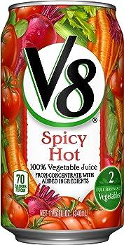 24-Pack V8 Spicy Hot 100% Vegetable Juice 11.5 oz. Cans