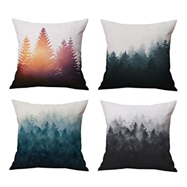 The Foggy and Sunshine Forest & Trees Theme Style Throw Pillow Covers Set Cushion Cases Home Decoration Cotton Linen 18 x 18 Inch Set of 4 for Sofa & Couch, Bed