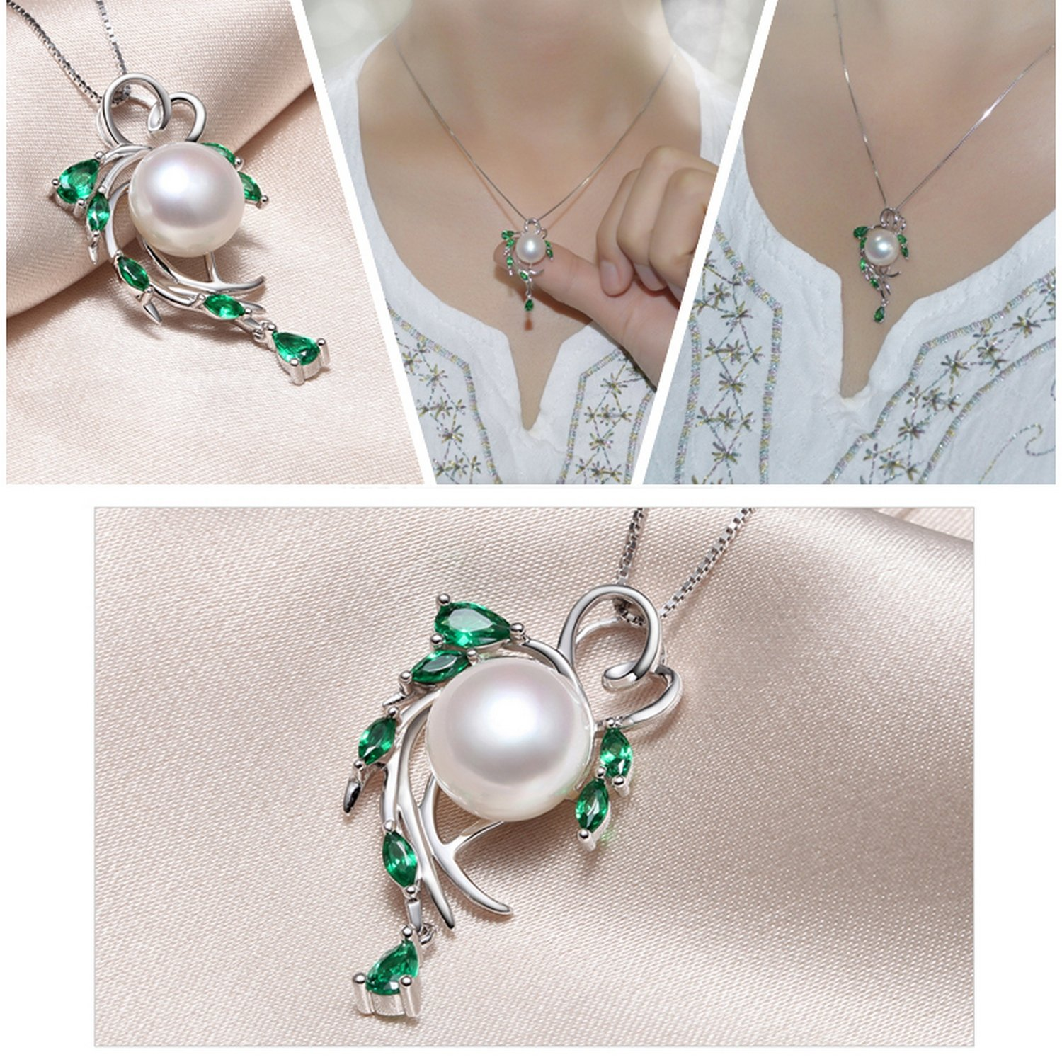 CS-DB Pendants Flower Emerald Bohemia Silver Necklaces