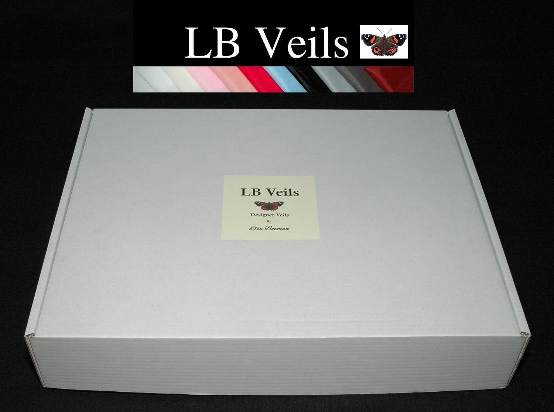 Crystal Veil Wedding Cathedral Length Ivory Single Tier Long LBV144 LBVeils UK