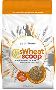 sWheat Scoop Premium+ Natural Clumping Wheat Cat Litter