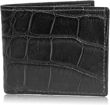 Genuine Alligator Crocodile Skin Handmade Wallet Black Double Bifold